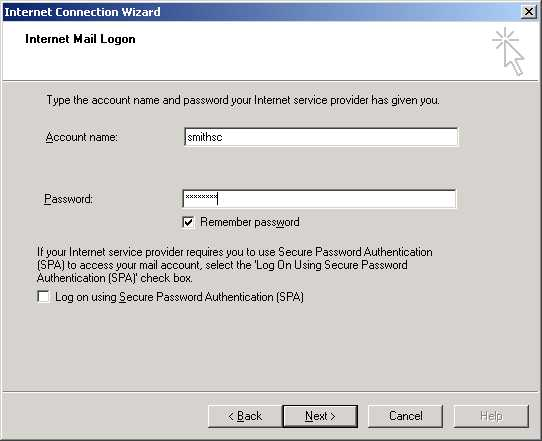 Outlook Internet Mail Logon screen