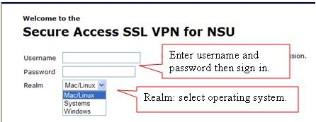NSU VPN Login Screen