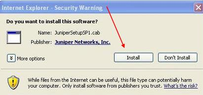 Install Juniper Executable File prompt