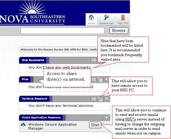 NSU VPN Home Page Screen