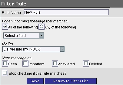 WebMail Filter Rule Screen