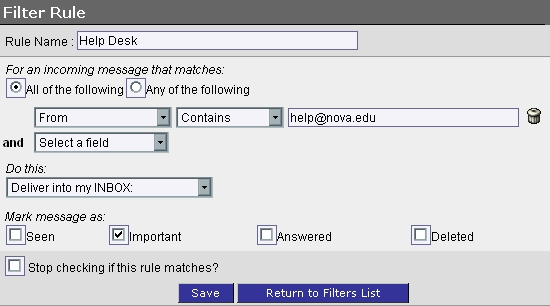 WebMail Filter Rule Settings screen