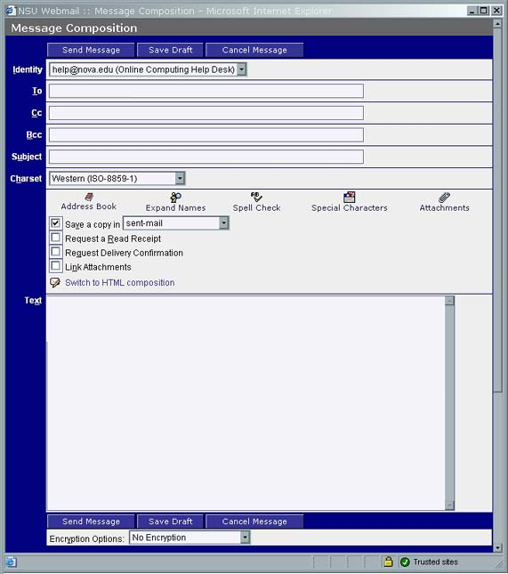 WebMail Message Composition Screen