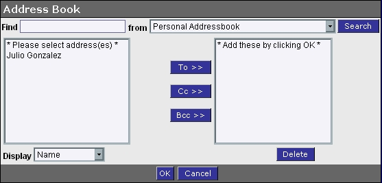 WebMail Address Book Select Email Address Screen