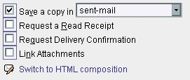 WebMail Message Option Screen