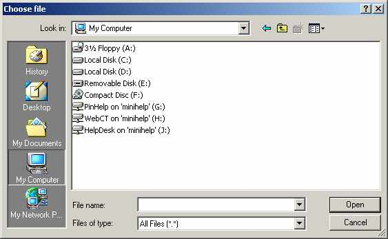 WebMail File Browser screen