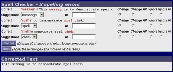 WebMail Spell Checker Error Screen