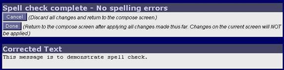 WebMail Spell Check Complete Screen