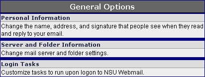 WebMail Main Options Menu screen