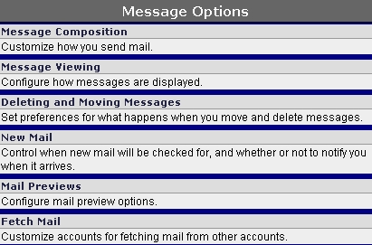 WebMail Message Options screen