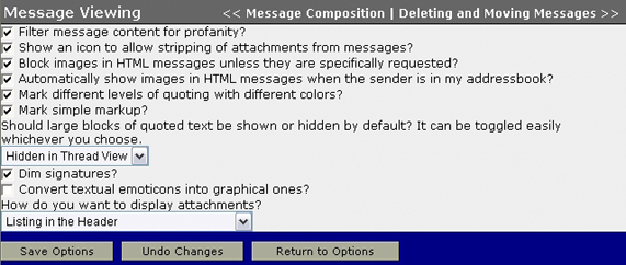 WebMail Message Viewing Options screen
