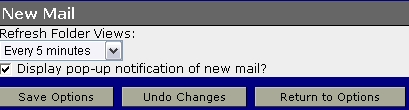 WebMail New Mail Options screen