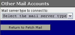 WebMail Other Mail Accounts Server Type screen