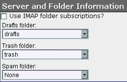 WebMail Server and Folder Information screen