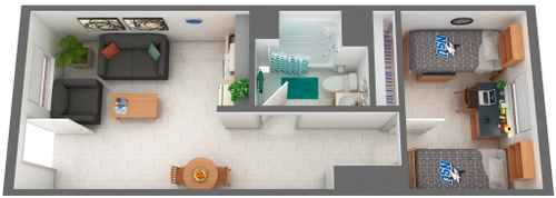 Cultural Living Center Single-Double Room Floor Plan