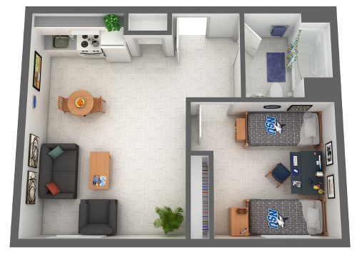 Founders, Farquhar, and Vettel Single-Double Room Floor Plan