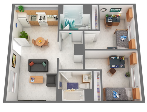 Cultural Living Center Double Room Floor Plan