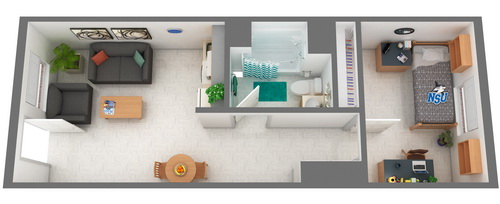 Cultural Living Center Single Room Floor Plan