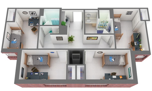 Commons 4 Single Bedrooms Floor Plan