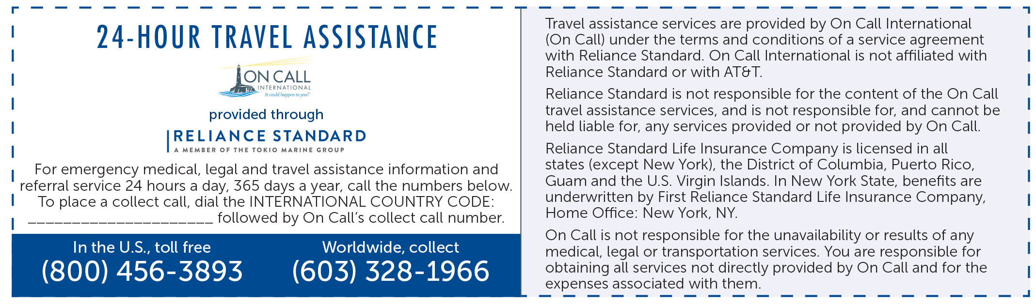 Emergency Travel Assistance Printable Card