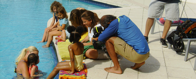 Kids and Video Crew at Poolside