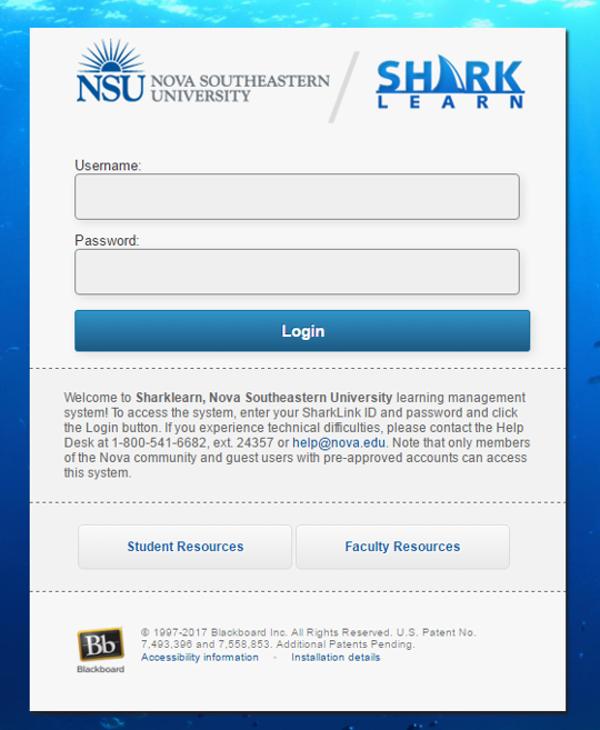 sharklearn.nova.edu blackboard