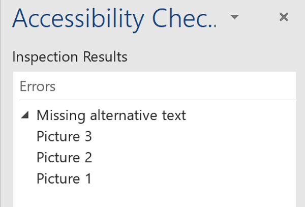 Accessibility Checker Tool Results