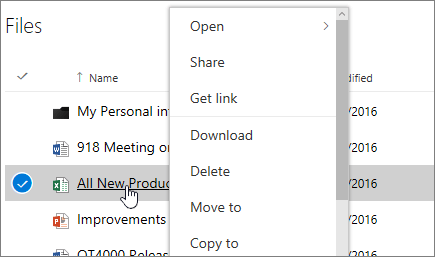 Manage a file in the OneDrive web app