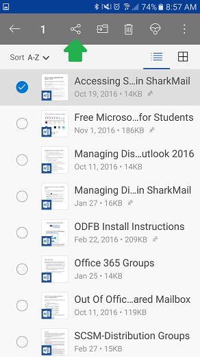Share a file using the OneDrive mobile app