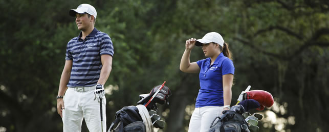 Student-athlete golfers on course
