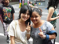 Kristyl Robinson (RIGHT) made new friends in Tokyo, Japan.